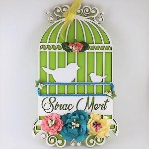 Kuş Kafesli Ahşap Kapı Süsü