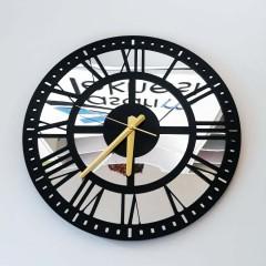 Aynalı Ahşap Duvar Saati