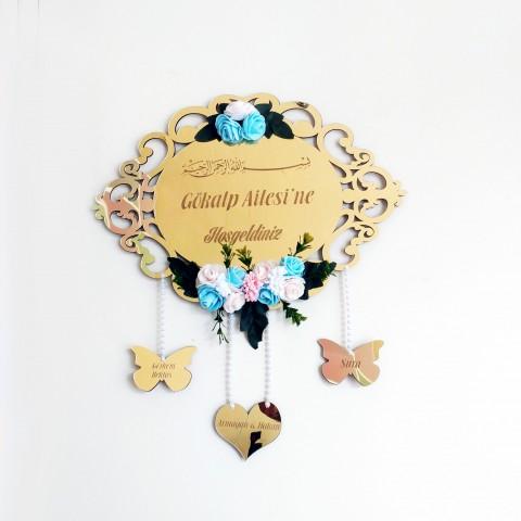 Desenli Kalp ve Kelebekli Ayna Pleksi Kapı Süsü