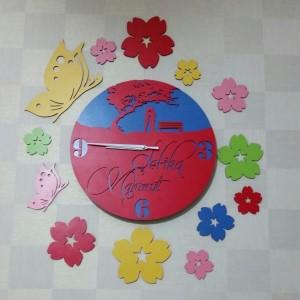 Kelebek,  Çiçek Dekorlu İsme Özel Ahşap Duvar Saati