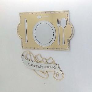 İsme Özel Dekoratif Ayna Pleksi Mutfak Süsü