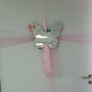 Kelebek Desenli Pleksi Kapı Süsü