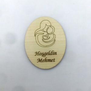 Anne Bebek Silüetli Ahşap Magnet 1
