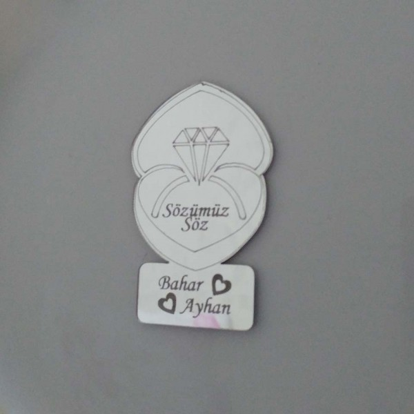 Kutusunda Pırlanta Yüzük Ayna Pleksi Magnet