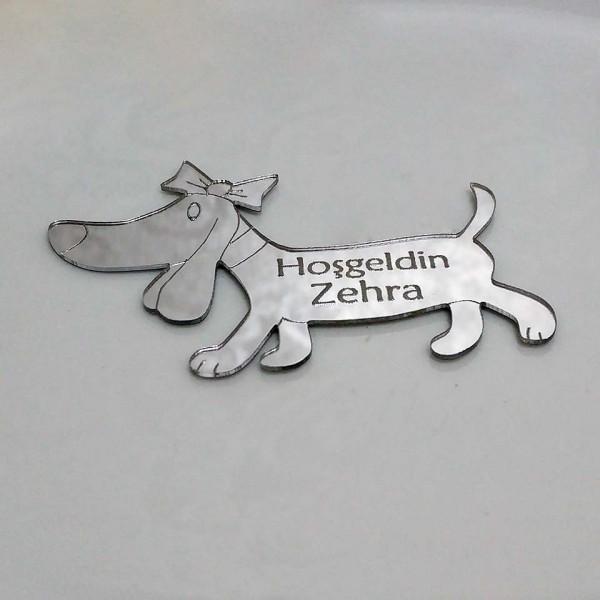 Sevimli Köpek Silüetli Ayna Pleksi Magnet