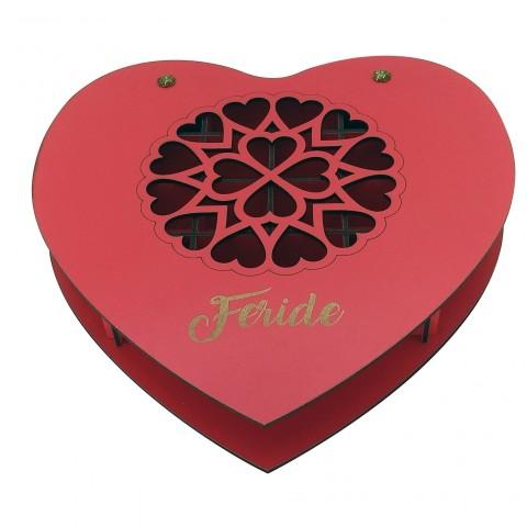 İsminize Özel Desenli Kalp Ahşap Takı Kutusu