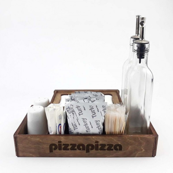 Ahşap Dispenser Peçeteli Kafe-Restoran Menaj Takımı Model 1