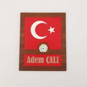 Türk Bayrağı Masaüstü Dekoratif Saat