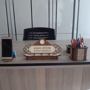 Ahşap İsimlik ve Masaüstü Düzenleyici Set Model 6