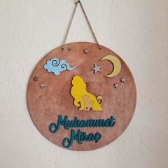 İthal Ahşap Bebek - Çocuk Kapı Süsü Aslan Oğlum Model 6