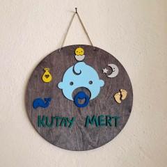 İthal Ahşap Bebek - Çocuk Kapı Süsü Bebeğim Model 7