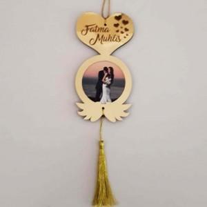 Fotoğraflı Sevgiliye Özel Dekoratif Dikiz Ayna Süsü Model 2