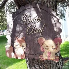 İthal Ahşap Bebek - Çocuk Kapı Süsü Fil ve Tilki Model 15