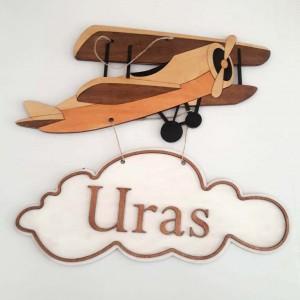 İthal Ahşap Bebek - Çocuk Kapı Süsü Planör Uçak Model 16
