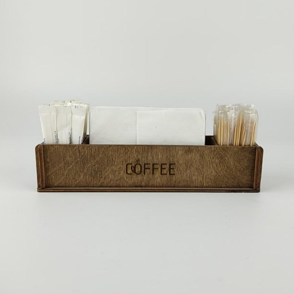 Ahşap Kafe Peçetelik - Şekerlik Model 2