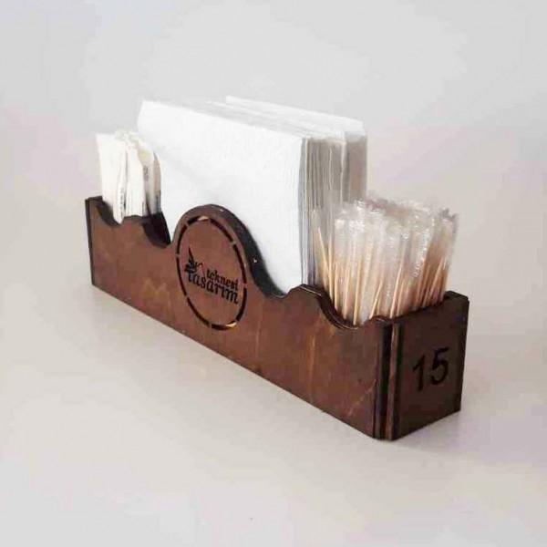 Ahşap Kafe Peçetelik - Şekerlik Model 4