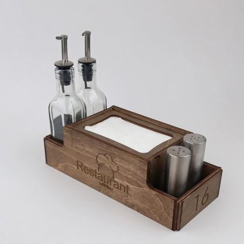 Ahşap Dispenser Peçeteli Kafe-Restoran Menaj Takımı Model 3