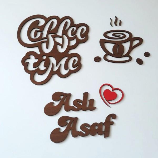 Ahşap İsimli Coffee Time Mutfak Dekoru Model 1
