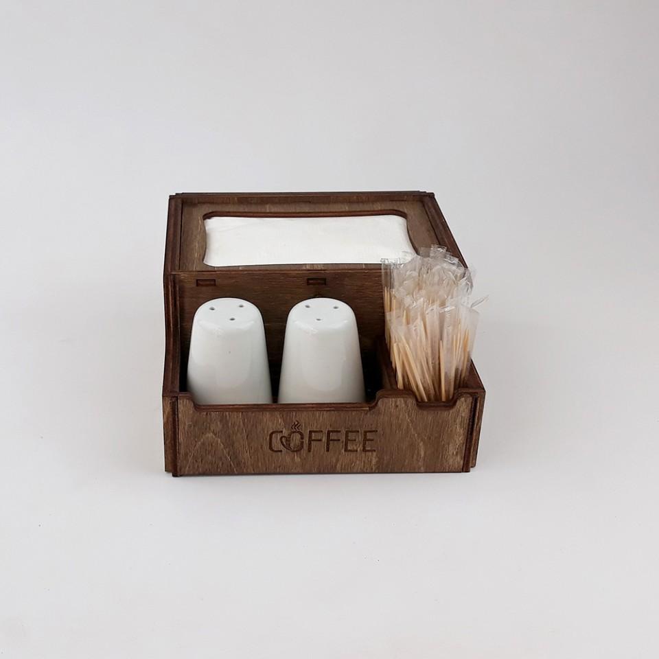 Ahşap Dispenser Peçeteli Kafe-Restoran Menaj Takımı Model 4