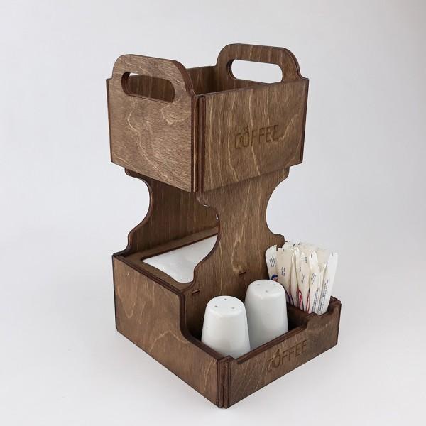 Ahşap Dispenser Peçeteli Kafe-Restoran Menaj Takımı Model 5