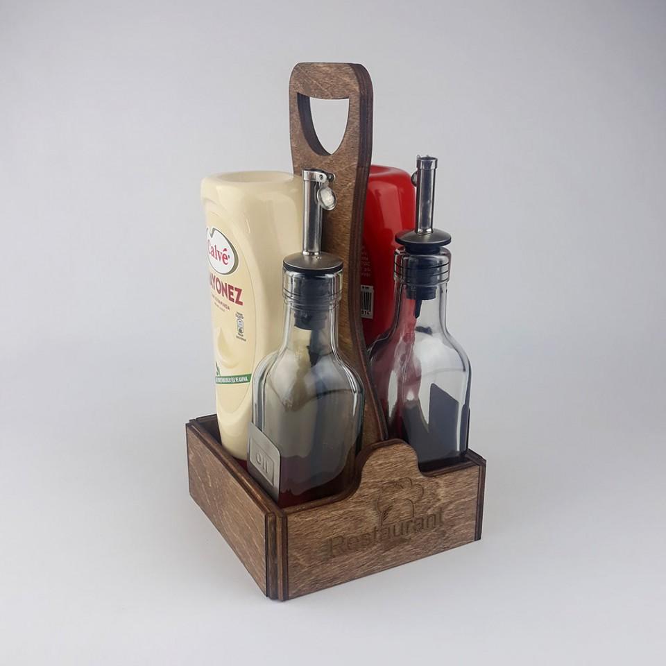 Ahşap Sosluk Kafe-Restoran Masa Düzenleyici Model 10
