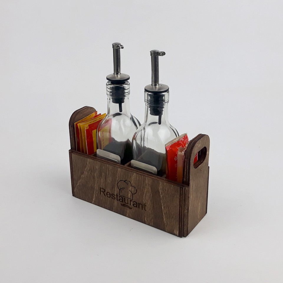 Ahşap Sosluk Kafe-Restoran Masa Düzenleyici Model 8