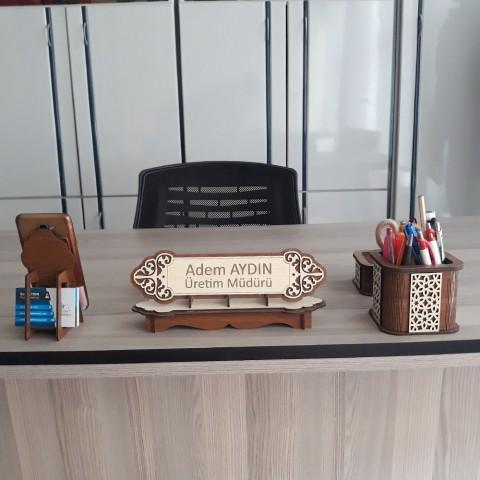 Ahşap İsimlik ve Masaüstü Düzenleyici Set Model 7