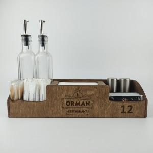 Ahşap Dispenser Peçeteli Kafe-Restoran Menaj Takımı Model 7