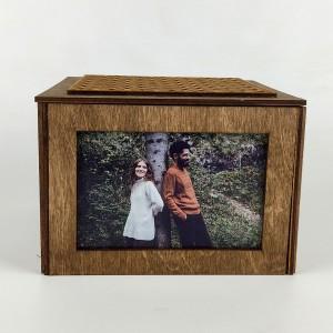 Sevgiliye Özel Fotoğraflı Ahşap Hediye Kutusu Model 3