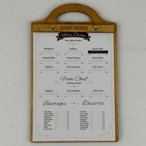 Kafe Restoran Ahşap Menü Kabı Model 7