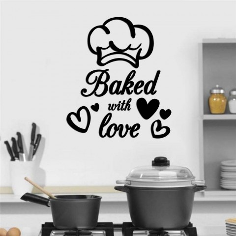 Baked with love Ahşap Yazı