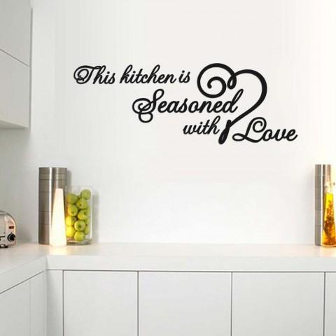 This kitchen Seasoned with Love Ahşap Yazı